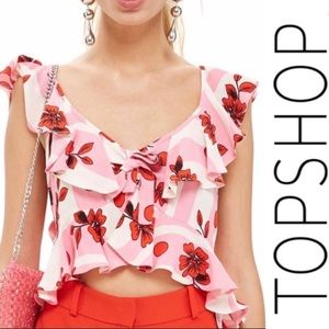 Topshop NWT Brigitte Floral top Pink White Red 14